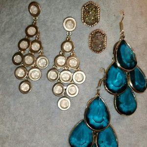 Chandelier Earrings Gold & Pair of Drusey Gold